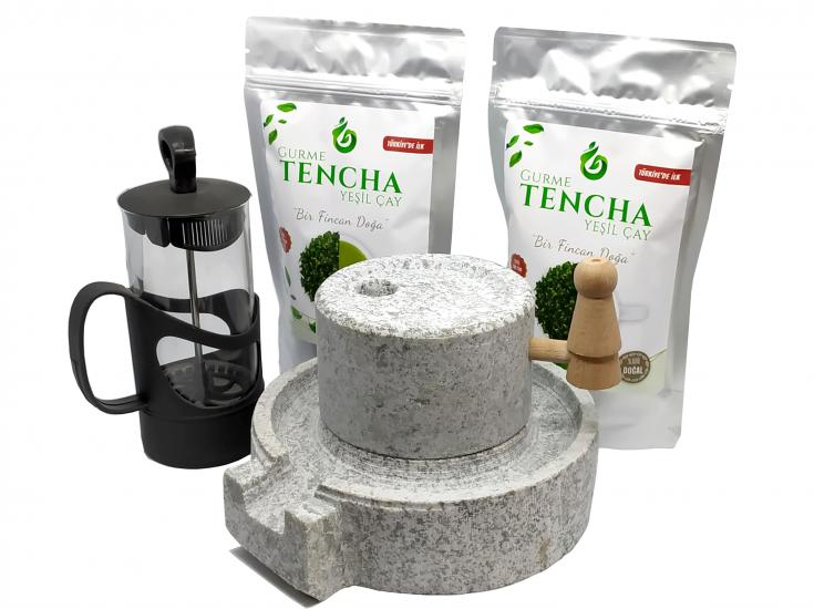 2 Paket Tencha + Cam French Press + Taş El Değimeni